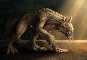 существо, монстр, красные глаза, взгляд, злость