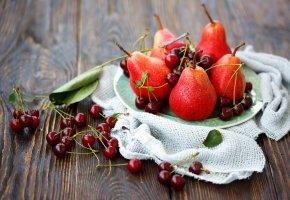 еда, груши, черешня, натюрморт, тарелка