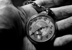 черно-белое, часы, время, рука, цифры