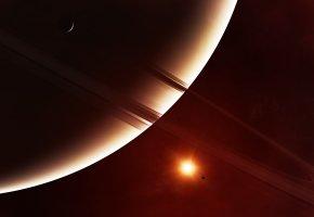 экзопланета, кольца, спутники, звезда