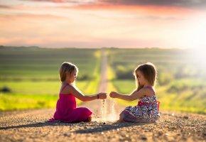 дети, девочки, солнце, дорога, простор