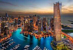 Обои город, Дубай, City, Dubai, курорт, вечер, закат