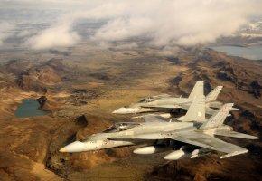 CF-18, Hornet, истребители, Исландия, полёт, пейзаж