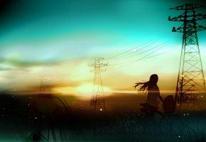 девушка, пейзаж, провода, велосипед, закат