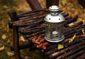 скамейка, листья, фонарь, свеча, Фонарик, лавка