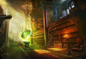шар, комната, библиотека, магия, сфера, книги
