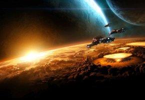 фантастика, космос, планеты, корабли, взрыв