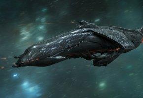 космический корабль, полет, скорость, звезды