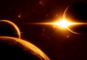 Обои планеты, солнце, звезда, космический корабль, неизвестные миры