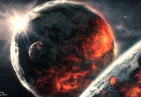 планеты, спутники, звезды, огонь, солнце