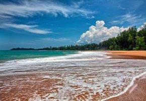 пляж, песок, прибой, небо, облака, остров