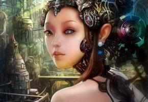 Обои фантастика, девушка, робот, лицо, механизм