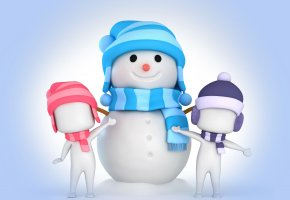 Обои snowman, 3d, winter, snow, christmas, new year, снеговик, рождество, снег