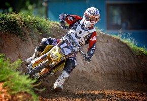 мотоцикл, шлем, Мотокросс, спортсмен, грязь, скорость