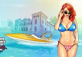 Gta, катер, vice city, девушка, очки, купальник