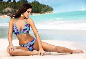 девушка, купальник, пляж, песок, модель, ножки