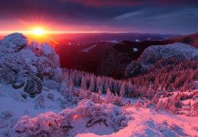 зима, горы, солнце, лес, красиво, закат, снег