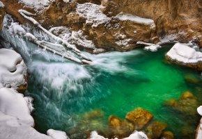 источник, вода, зима, сосульки, снег, камни, красота