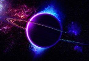 Обои вселенная, туманность, кольца, планета