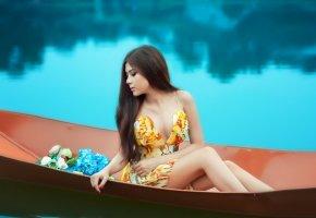 модель, девушка, лодка, позирует, ножки, длинные волосы