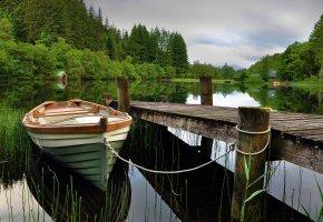 пристань, лодка, озеро, отражение, деревья, домик, небо, пейзажи