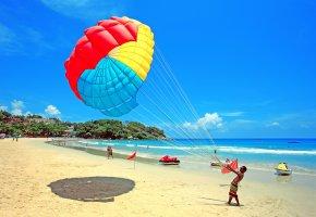 парашют, пляж, люди, океан, вода, песок