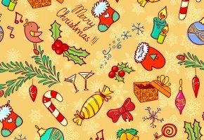 Обои текстура, вектор, зима, праздники, конфеты, игрушки, свечи, Рождество, Новый Год