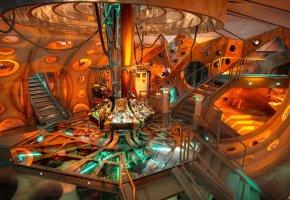 Обои тардис, лестница, консоль, приборы, свет, оранжевый