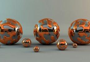шар, шарик, блеск, металл, абстракция, отражение, узор