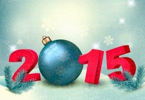 Обои новый год, 2015, праздник, шар, снежинки