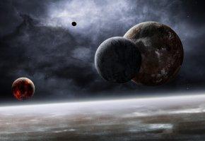 красный мёртвый спутник, планеты, туманность, звезды