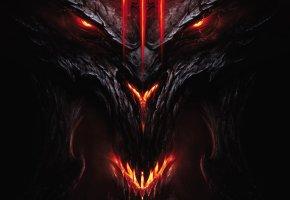 Обои diablo 3, face and head, demon, диабло 3, демон, огонь