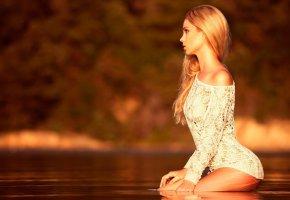 блондинка, красотка, фигурка, мокрая, девушка