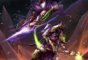 Обои starcraft 2, битва, магия, жезл, горы