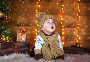 ребенок, подарки, новый год, шапка, шарфик