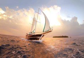 Обои остров, небо, яхта, парусник, паруса, волны, киль