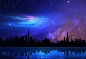 чикаго, небоскребы, Chicago, небо, высотки, отражение