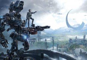 Обои Titanfall: Frontier\'s Edge, Respawn Entertainment, Робот, Солдат, Титан, Пилот, Здания, Оружия, Охотник, Экипировка
