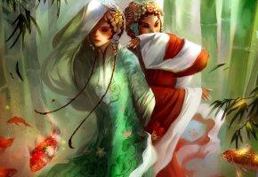 Обои CHINA, девушки, рыбы, одеяния, танец
