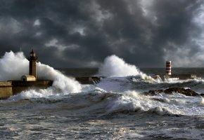 маяк, шторм, волны, стихия, океан, небо, тучи