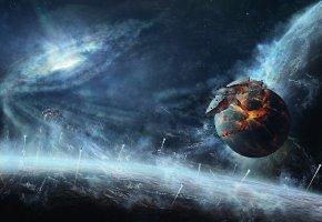 разрушение, обломки, космос, планеты, корабли
