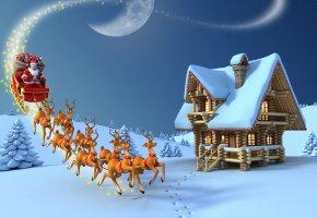 рождество, дед мороз, новый год, елка, снег, олени, подарки, 3D, луна