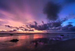 Мьянма, Бенгальский залив, берег, песок, вечер, закат, небо, облака, тучи