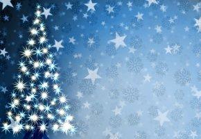 Обои ёлка, новый год, рождество, звёзды, графика, christmas, new year, снежинки, искры
