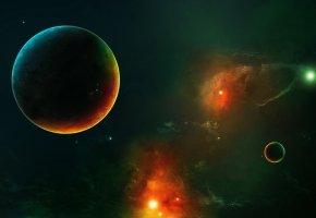 планета, звезды, туман, созвездия