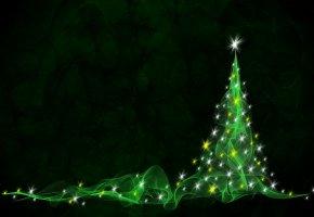 новый год, елка, зеленая, огни