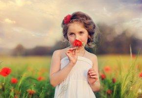 ребенок, девочка, цветы, природа, маки