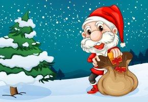 рождество, елка, новый год, подарки, снег, дед мороз, мешок, игрушки