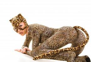 девушка, кошка, костюм, маска, хвост