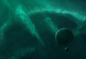 бездна, звезды, планеты, пустота, туманность, сияние, space